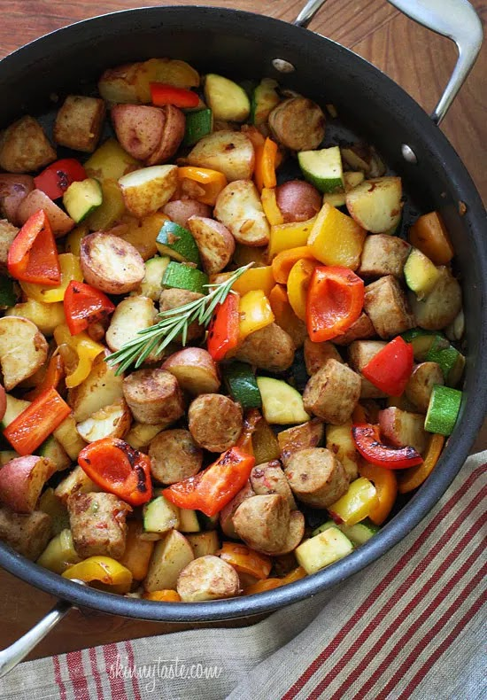 I love a meal that only dirties one pot because although I may love to cook, I really don't love to clean! I labeled this as kid-friendly because my older one (the pickier one) loves this and my younger one will eat the sausage and peppers, but picks out the potatoes. Since every child is different I'll let you decide! This is also gluten-free for those of you with a gluten intolerance, dairy-free and egg-free.