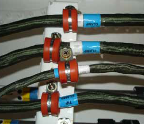 positive separation of wire and fluid lines and wire clamps