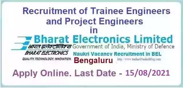 BEL Bengaluru Trainee Project Engineer Officer Vacancy Recruitment 2021