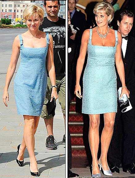 Princesa Diana vestido leilão no filme e vida real