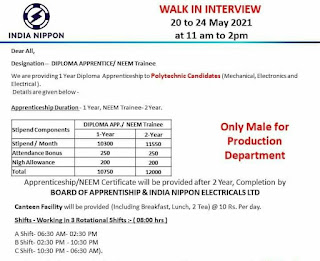 India Nippon Electricals Ltd Recruitment Diploma Freshers Candidates For Apprentice and Neem Trainee Post