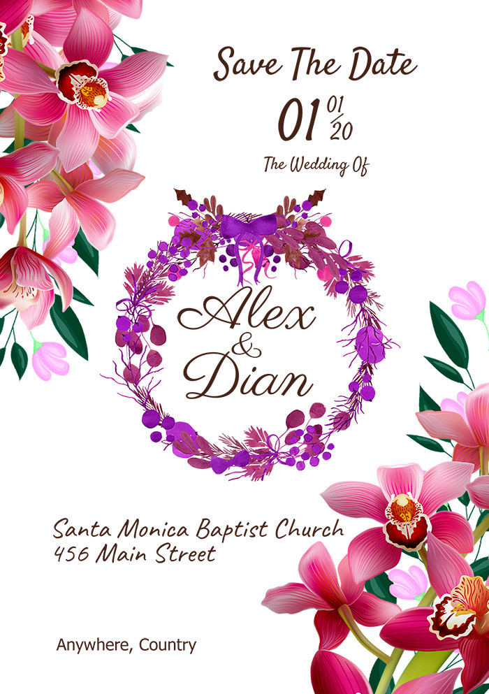 Wedding Invitation Template With Red Flower In White Background