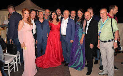 Vladimir Putin with performers at the Opera in Chersonese International Music Festival.