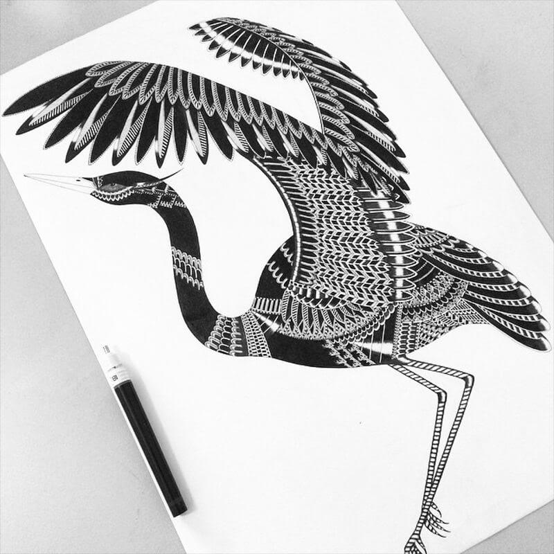04-Crane-Zentangle-Stine-Lee-www-designstack-co