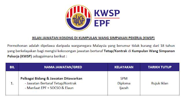 jawatan kosong kwsp epf