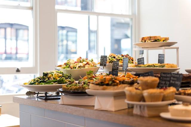 counter displaying food at KIN cafe London