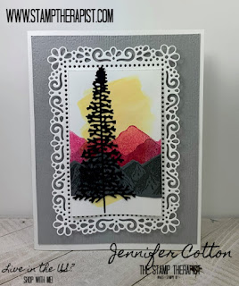 In this card, Jennifer uses the Mountain Air bundle (includes Majestic Mountain Dies) from Stampin' Up! to make a card inspired from the mini catalog!  The frame image is from the Ornate Layers Dies.  #StampinUp #StampTherapist