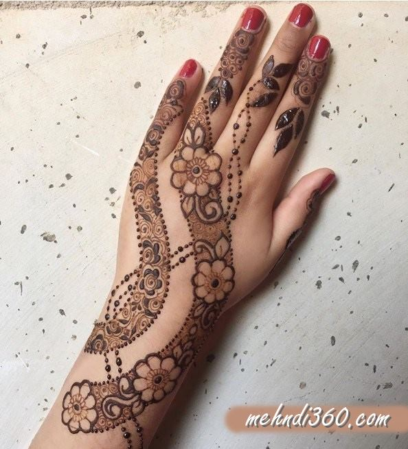 Strips Mehndi Design for Back hand