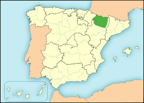 Aragonese language in Spain map