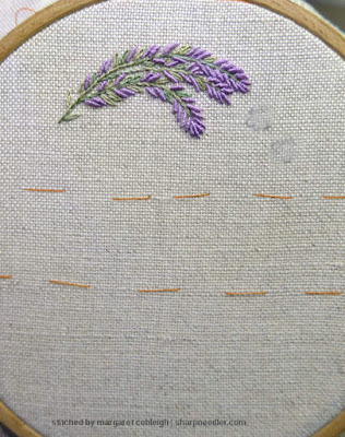 Embroider spray of lavender spray at top of Lorna Bateman Laveneder and Bees scissors keeper