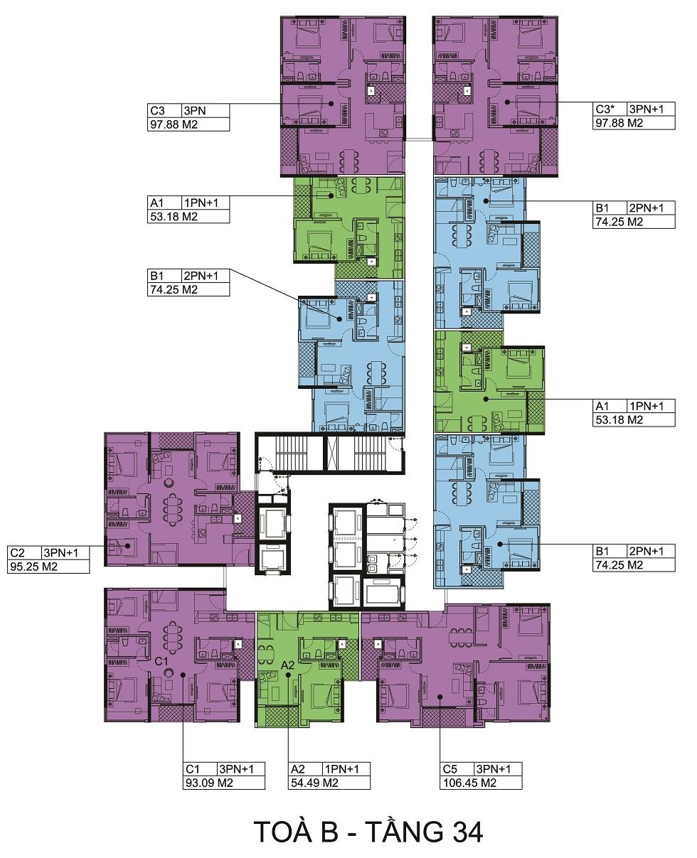 Mặt bằng tầng 34 Block B chung cư The Zen.