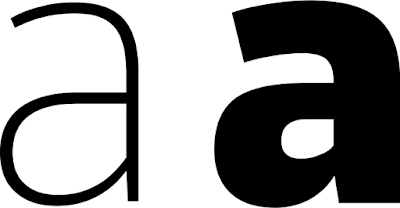 "Thin letter ""a"" and black letter ""a"""