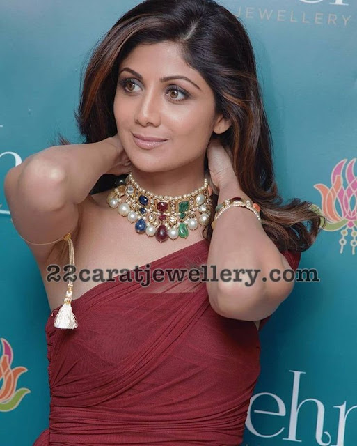 Shilpa Shetty Pearls and Diamond Jewelry