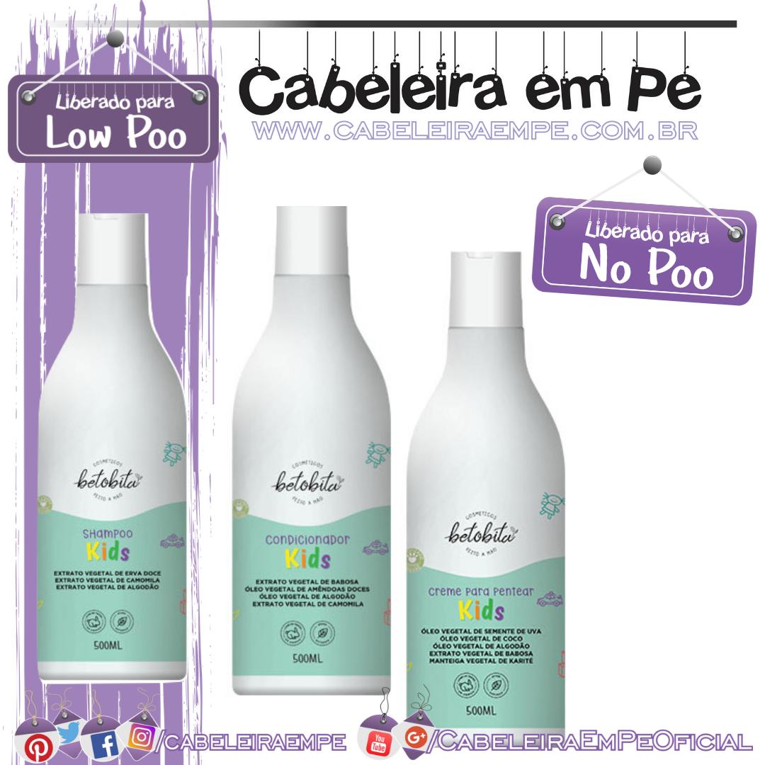 Shampoo (Low Poo), Condicionador e Creme para Pentear (liberados para No Poo) da linha Kids - BetoBita Feito à Mão
