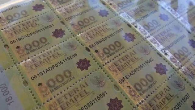 Mulai 1 Januari 2021, Tak Ada Lagi Materai Rp3.000 dan Rp6.000, Gantinya Rp10.000