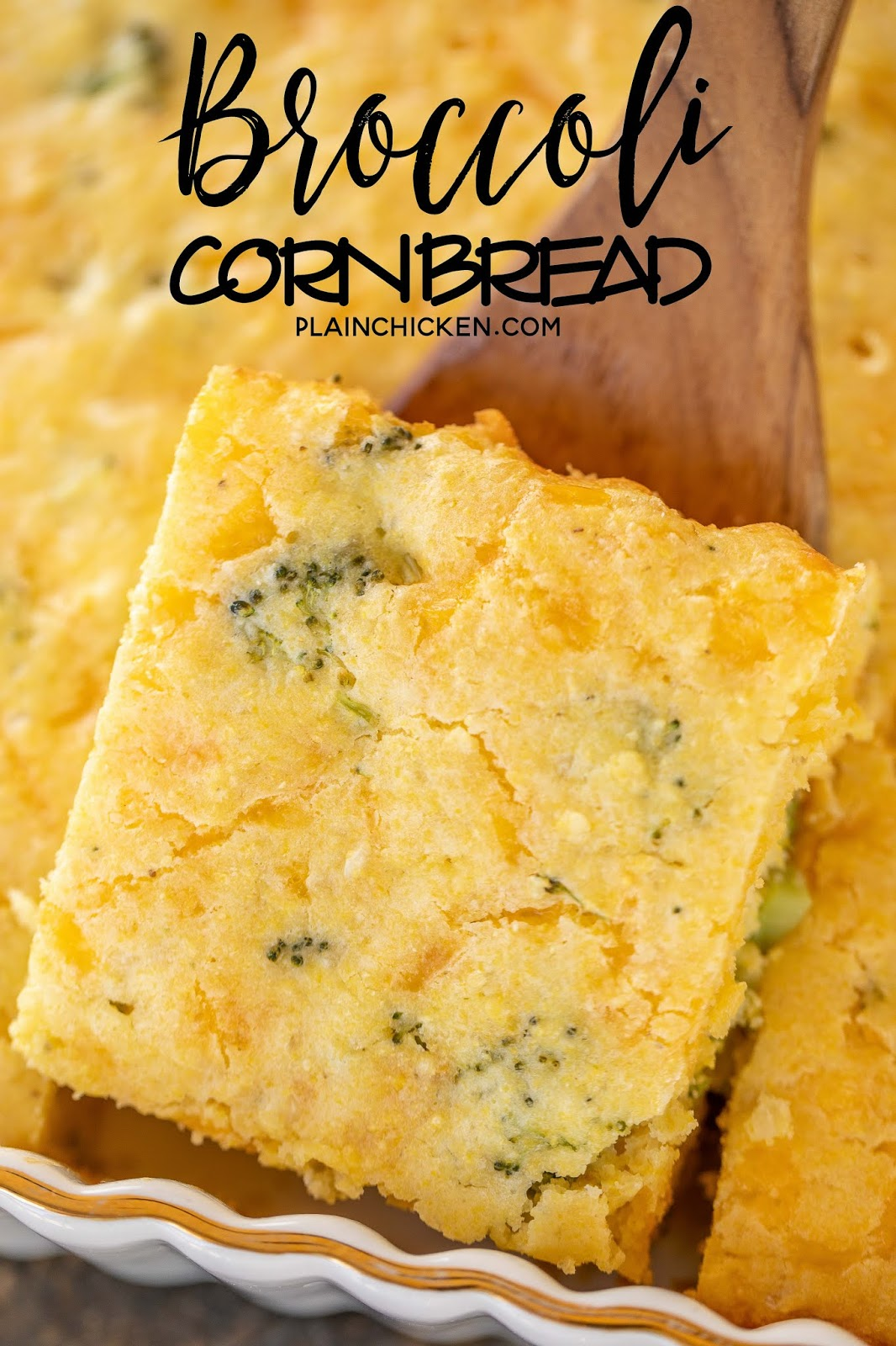 Taking cornbread slice out of baking dish