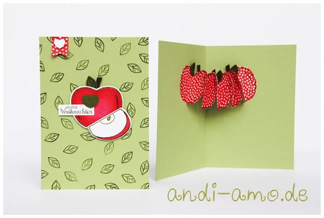Weihnachtskarte mit Apfelgirlande Stampin Up