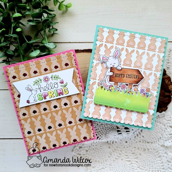 Spring Bunny Cards by Amanda Wilcox | Bunny Tails Stencil Set and Hoppy Greetings and Hello Spring Stamp Sets by Newton's Nook Designs #newtonsnook #handmade