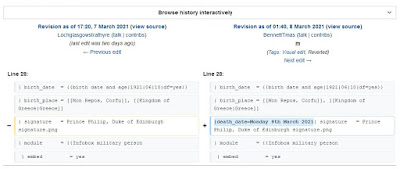 Modification de la fiche de Wikipédia sur le Prince Philip