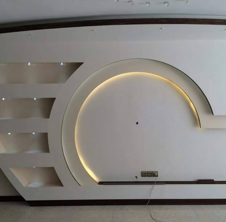 Dwell of decor 30 popular custom gypsum board tv units for Decor faux plafond platre