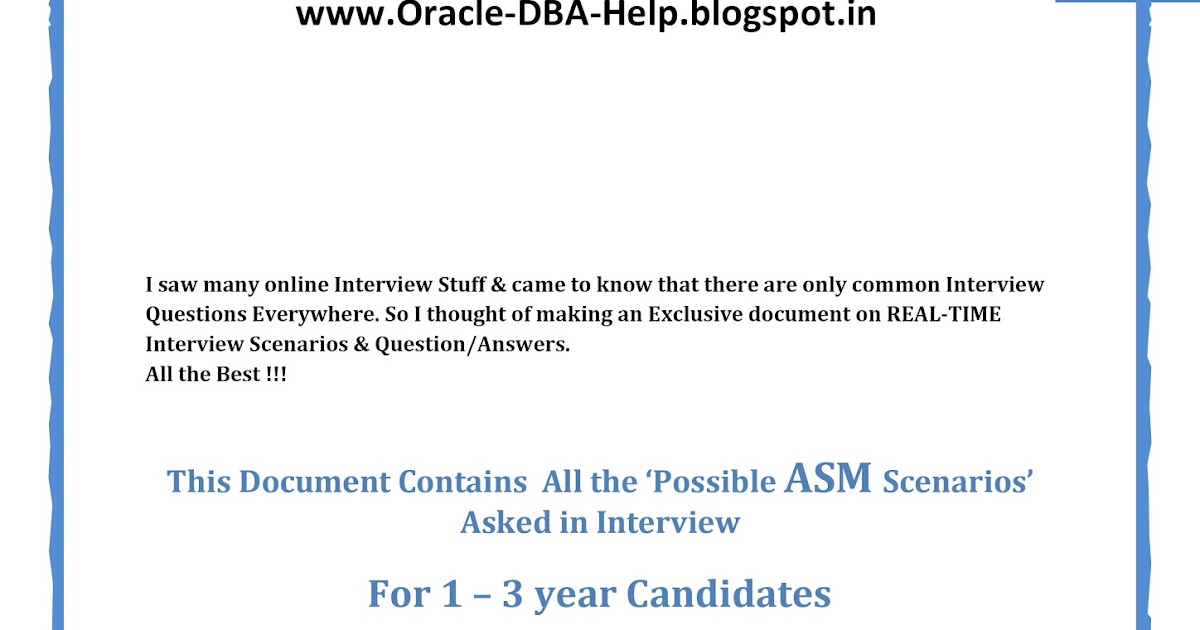20 ASM Realtime Interview Questions 3+ years Learn DBA  A