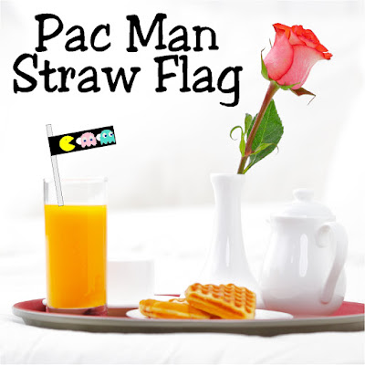 Dress up your straws with a fun party decoration perfect for your Arcade Video game party.  This free printable is an easy way to add a little bit of Pac Man fun.