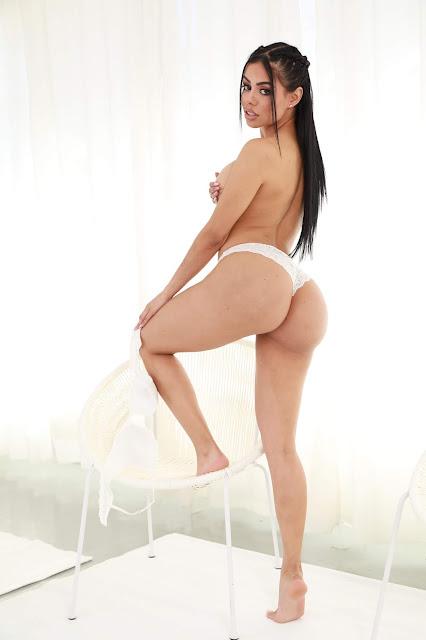 Canela Skin boobs naked big booty white panties hot