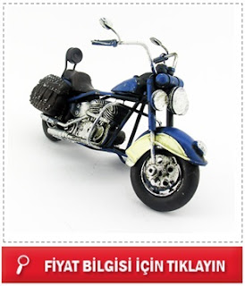 Dekoratif Nostaljik Mavi Motosiklet