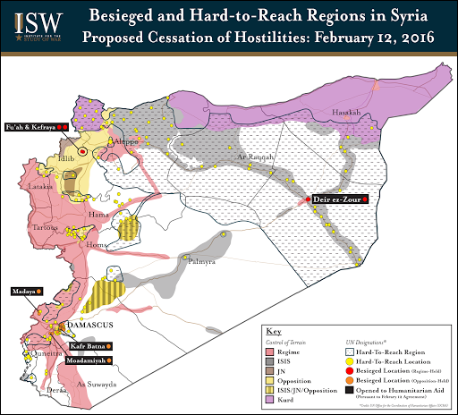 Besieged and Hard-to-Reach Regions of Syria: February 12, 2016