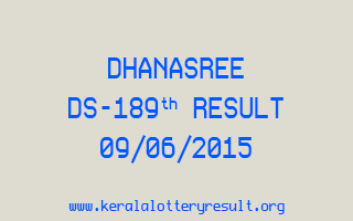 DHANASREE DS 189 Lottery Result 9-6-2015