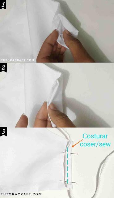 Foto mostrando como costurar o acabamento do elástico na máscara