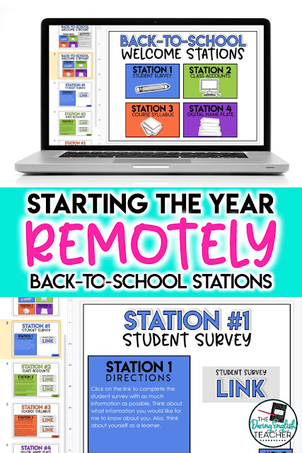 Digital back to school stations for secondary ELA for virtual teaching