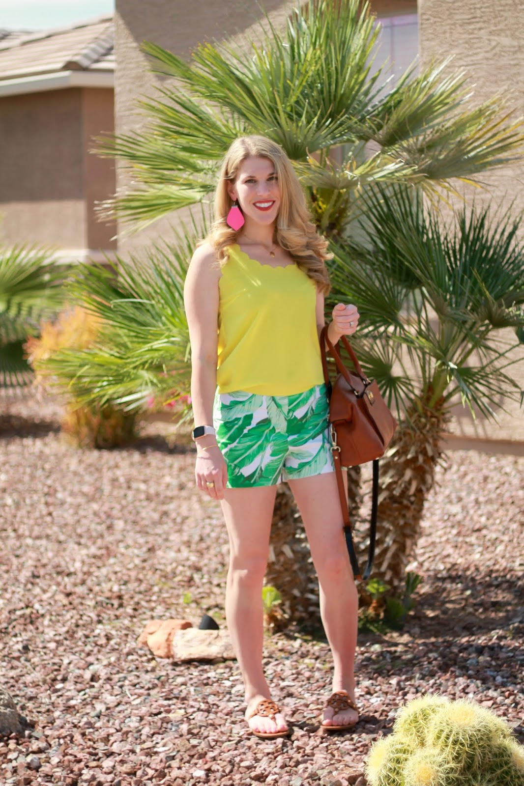 yellow scalloped top, palm print shorts, Tory Burch Miller sandals, hot pink leather earrings
