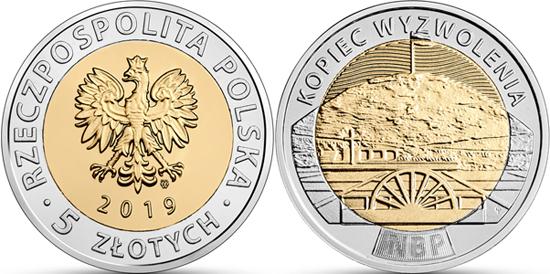 Poland bimetallic 5 zlotys 2019 the Liberation Mound