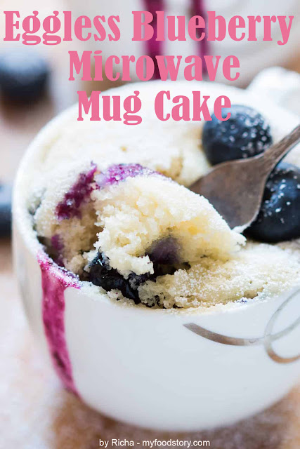 Eggless blueberry microwave mug cake