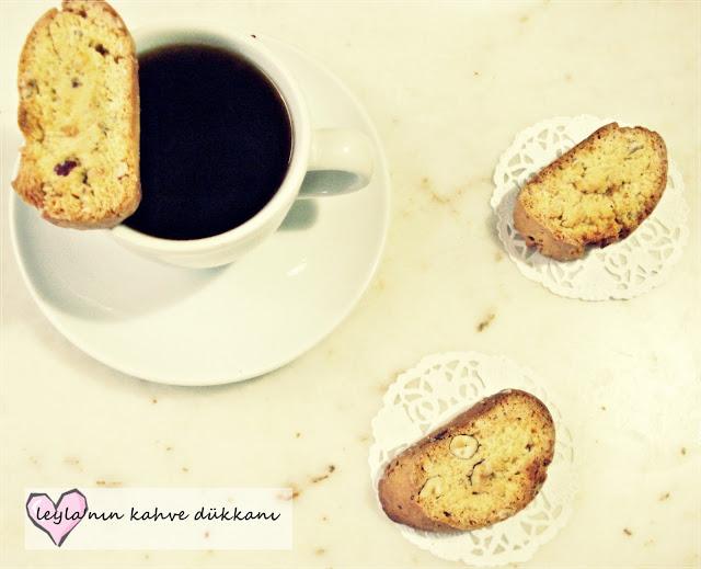 kahveli ve fındıklı biscotti