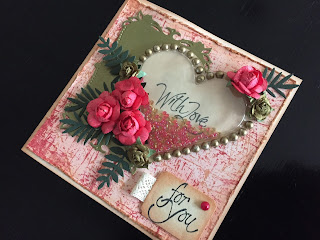 Valentine shaker card in a vintage style