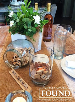 decorating, decorating basics, DIY, diy decorating, entertaining, fall, farmhouse style, fast cheap and easy, neutrals, rustic style, seasonal, simple solutions, style, summer, tablescapes, burlap, Scrabble tiles, Pinterest, Instagram, homewardFOUND decor