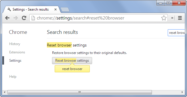 Reset Chrome Browser to remove pop-ups generating Adware