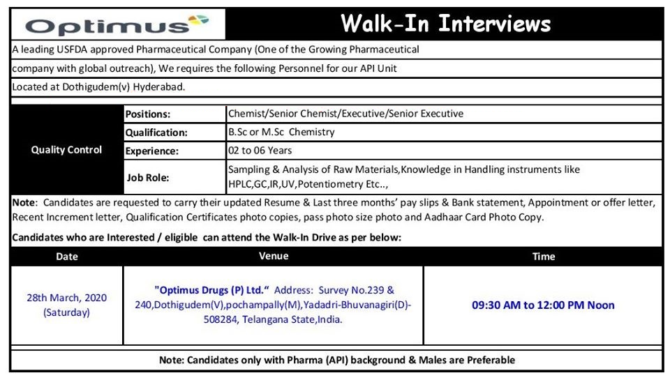 Optimus Drugs (P) Ltd - Walk-In Interviews for Quality Control on 28th Mar' 2020