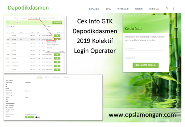 Cek Info GTK Dapodikdasmen 2019 Kolektif Login Operator