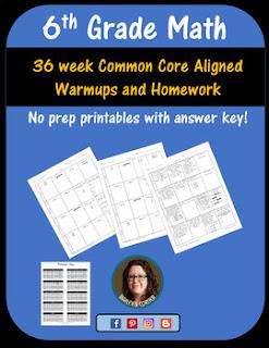 6th grade math warm ups and homework