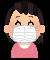 マスクを付けた人の表情のイラスト(女性・笑顔)