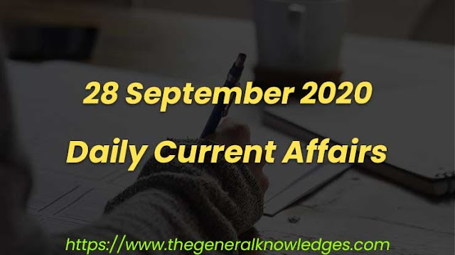 28 September 2020 Current Affairs Question and Answers in Hindi