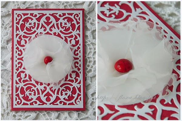 открытка красно-белая ажур, открытка любовь, открытка скрап самодельный цветок