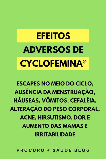 Efeitos adversos de cyclofemina®