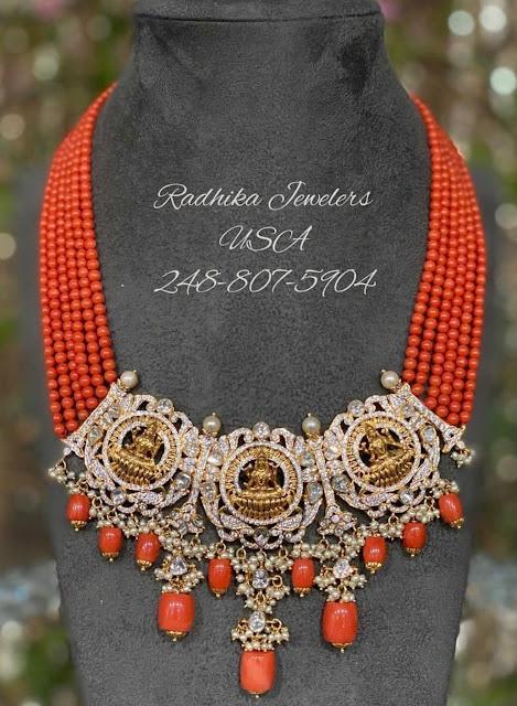 Coral Necklace with Lakshmi Pendant