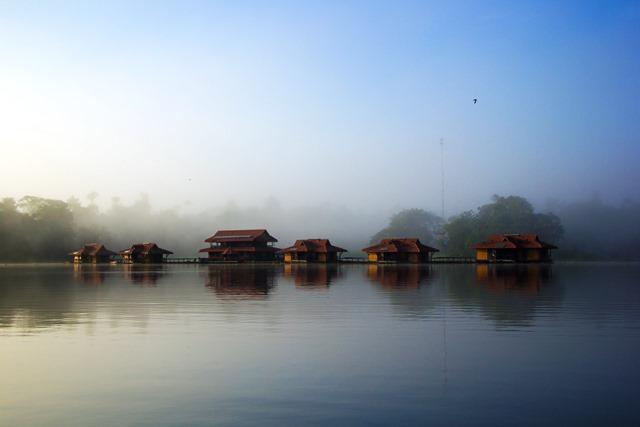 Uma manhã coberta pela neblina na Pousada Uakari Lodge