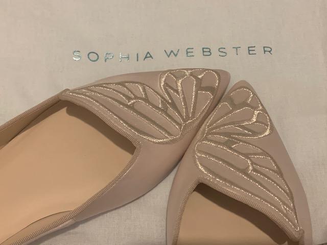 Sophia Webster butterfly flats in ivory