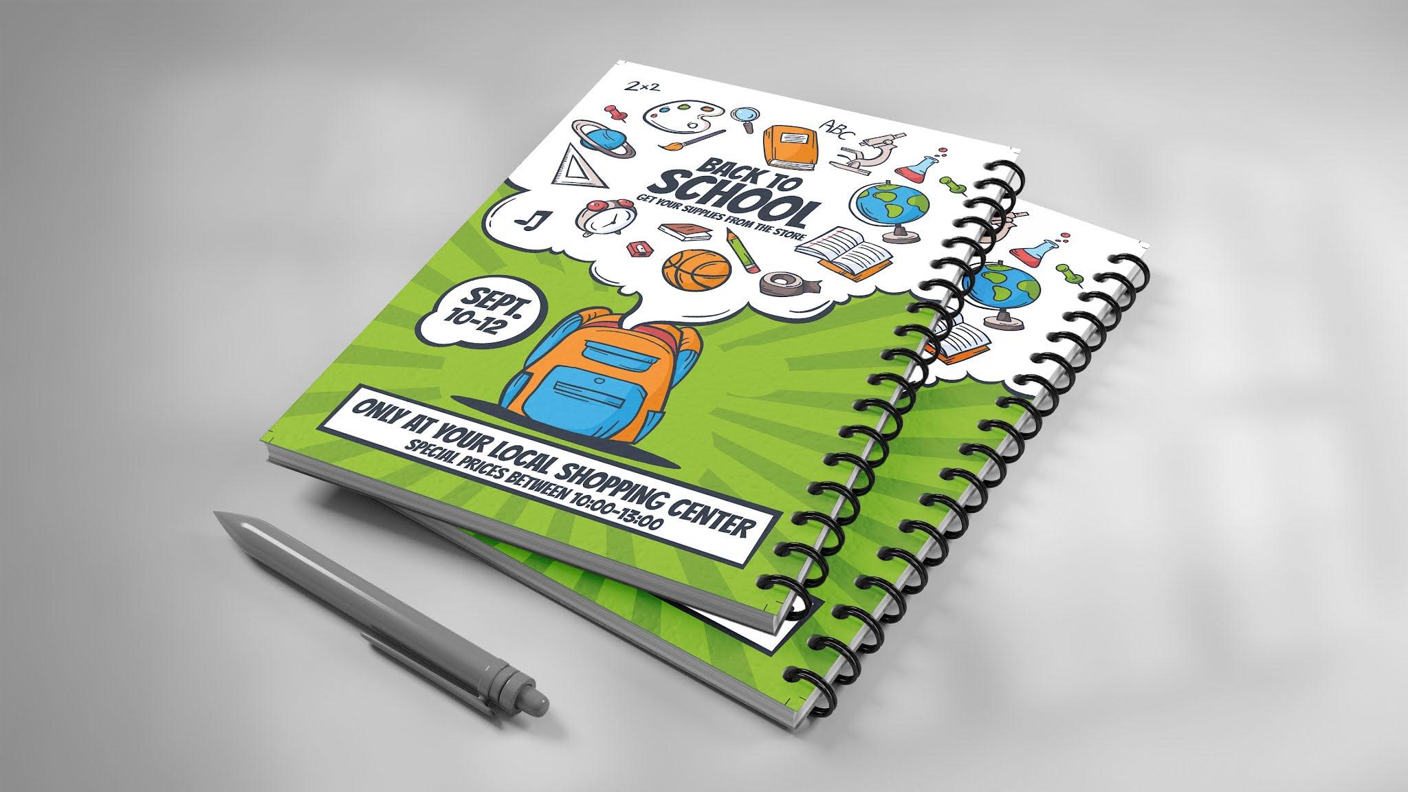 تحميل غلاف كتاب ومذكرة للمدارس PSD يصلح فلاير بوستر اللون  الاخضر الرائع